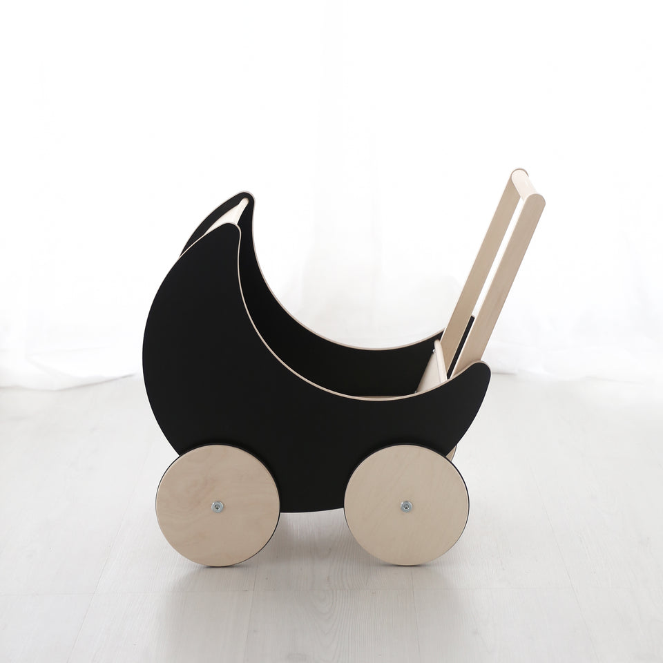 Ooh Noo Wooden Toy Pram - Blackboard