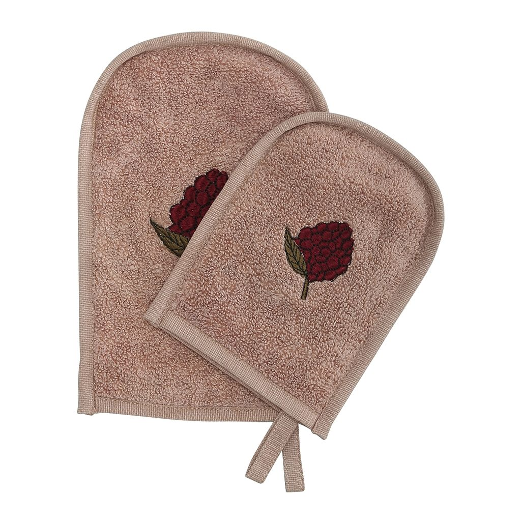Konges Slojd Organic Cotton Wash Mitts 2 Pack - Bark/Mulberry - Nursery Edit