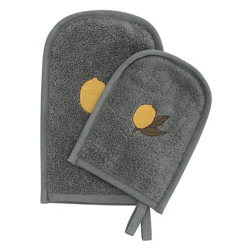 Konges Slojd Organic Cotton Wash Mitts 2 Pack - Ivy Green/Lemon - Nursery Edit