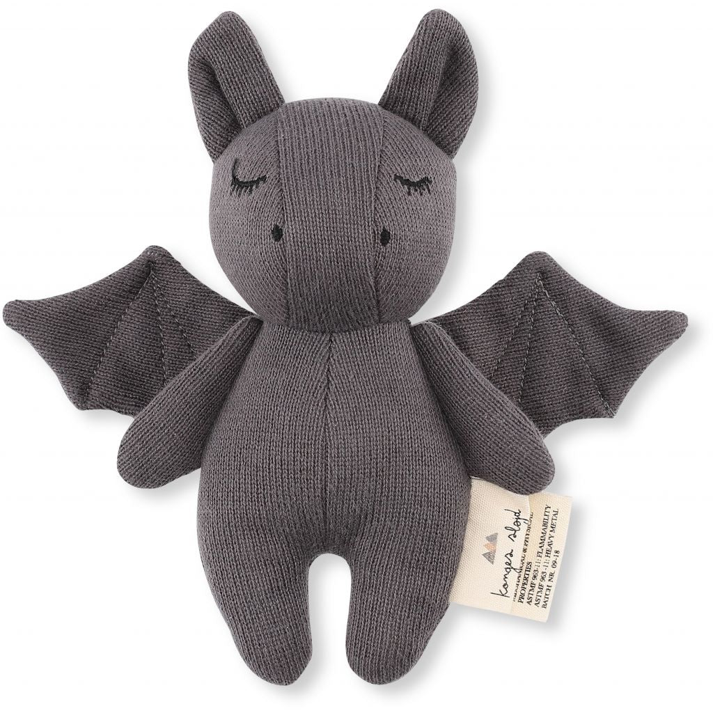 Konges Slojd Mini Bat Soft Toy - Grey - Nursery Edit