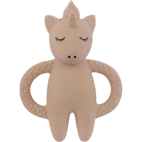 Konges Sløjd Natural Hevea Rubber Unicorn Teether - Rose - Nursery Edit