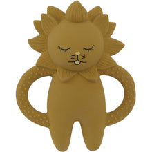 Load image into Gallery viewer, Konges Sløjd Natural Hevea Rubber Lion Teether - Mustard - Nursery Edit