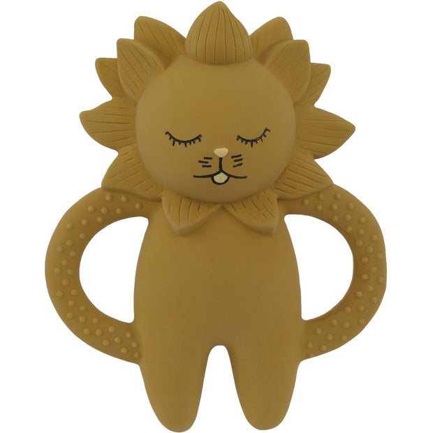 Konges Sløjd Natural Hevea Rubber Lion Teether - Mustard - Nursery Edit