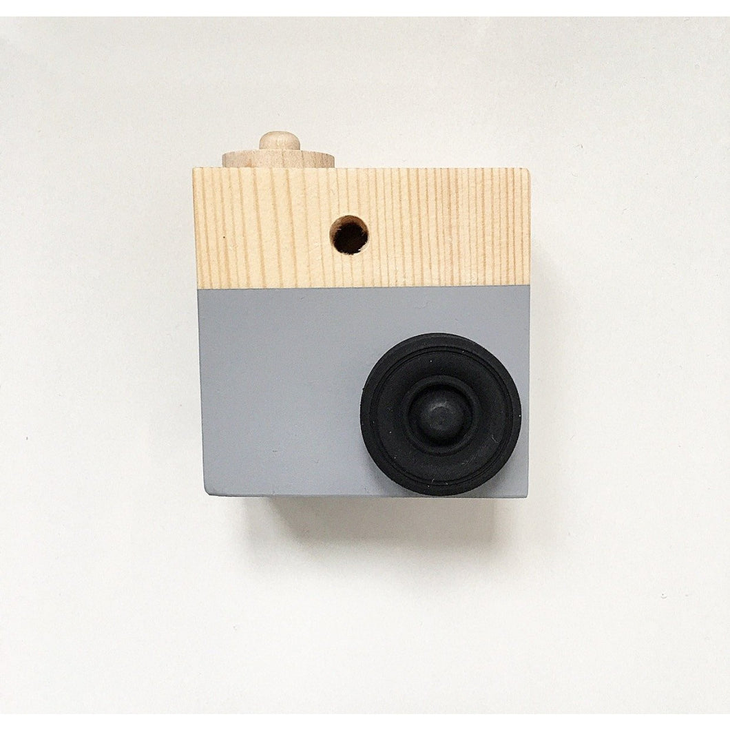 Wooden Toy Camera - Grey - Nursery Edit