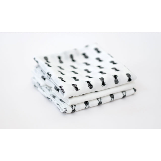 Muslin Squares - Monochrome Pineapple 3 Pack