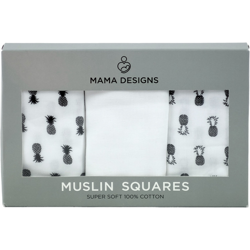 Mama Designs Muslin Squares - Monochrome Pineapple 3 Pack