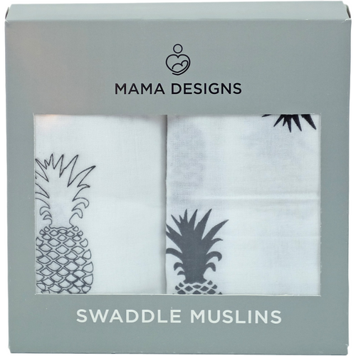Muslin Swaddles / Extra Large Muslins -Monochrome Pineapple 2 Pack