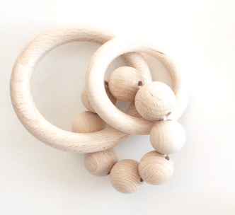 Bezisa Wooden Rattle Teether Mini 03 - Natural - Nursery Edit
