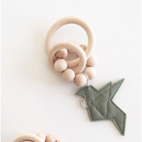 Bezisa Birds Rattle Teether - Pistachio Green - Nursery Edit