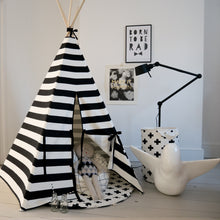Load image into Gallery viewer, Wildfire Teepees Stripe Teepee Black Trim - Nursery Edit