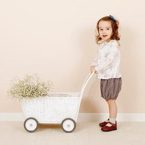 Olli Ella Strolley Toy Pram - White - Nursery Edit