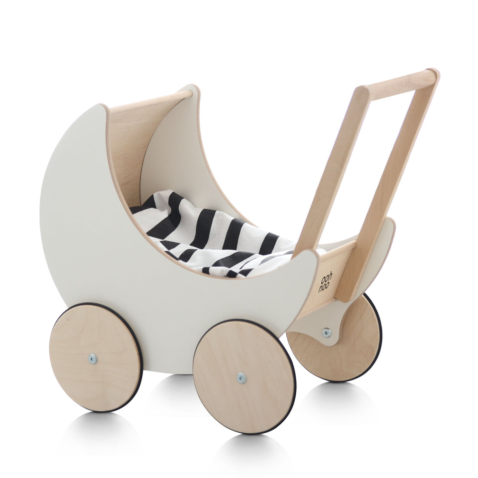 Ooh Noo Wooden Toy Pram - White - PRE ORDER FOR DELIVERY END AUG