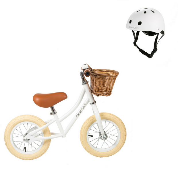 Banwood First Go! Balance Bike + Helmet - White - Save £5 Package - Nursery Edit