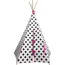 Load image into Gallery viewer, Wildfire Teepees Cross Teepee with Pink Trim - Nursery Edit