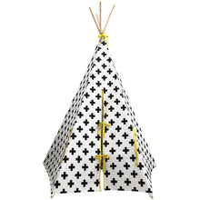 Load image into Gallery viewer, Wildfire Teepees Cross Teepee with Yellow Trim - Nursery Edit