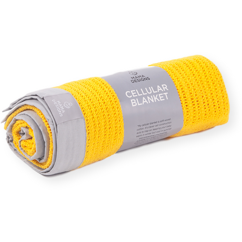 Cellular Blanket Yellow with Grey
