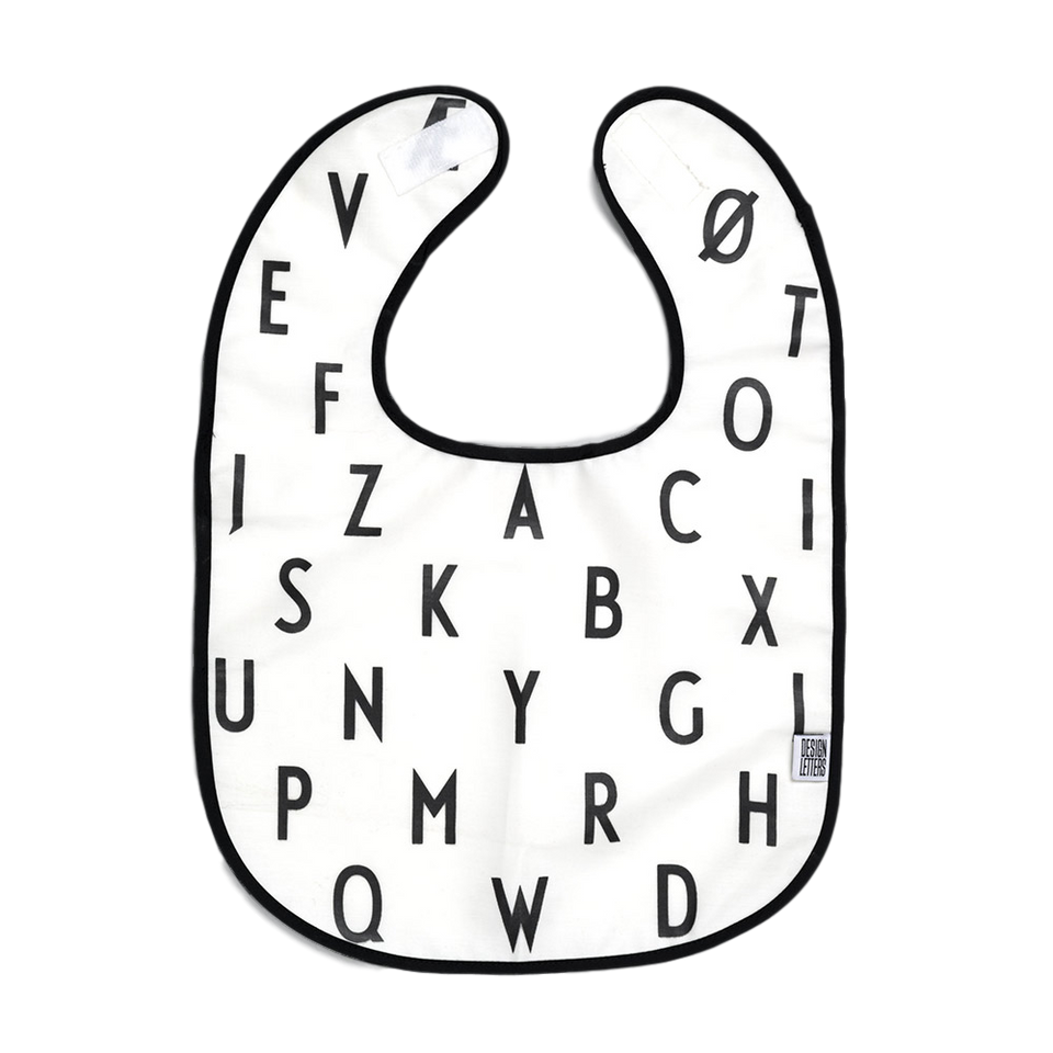 Design Letters Alphabet Bib - White