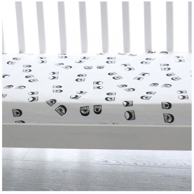 Ooh Noo Fitted Baby Cot Sheet - Look At Me - Nursery Edit