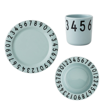 Load image into Gallery viewer, Design Letters Melamine Numbers Tableware Set - Soft Green - Nursery Edit