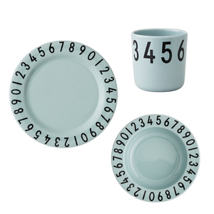 Design Letters Melamine Numbers Tableware Set - Soft Green - Nursery Edit