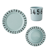 Melamine Numbers Tableware Set - Soft Green