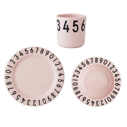 Design Letters Melamine Numbers Tableware Set - Soft Pink - Nursery Edit