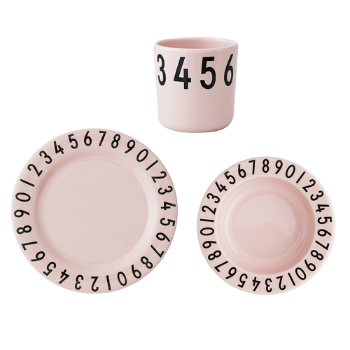 Melamine Numbers Tableware Set - Soft Pink