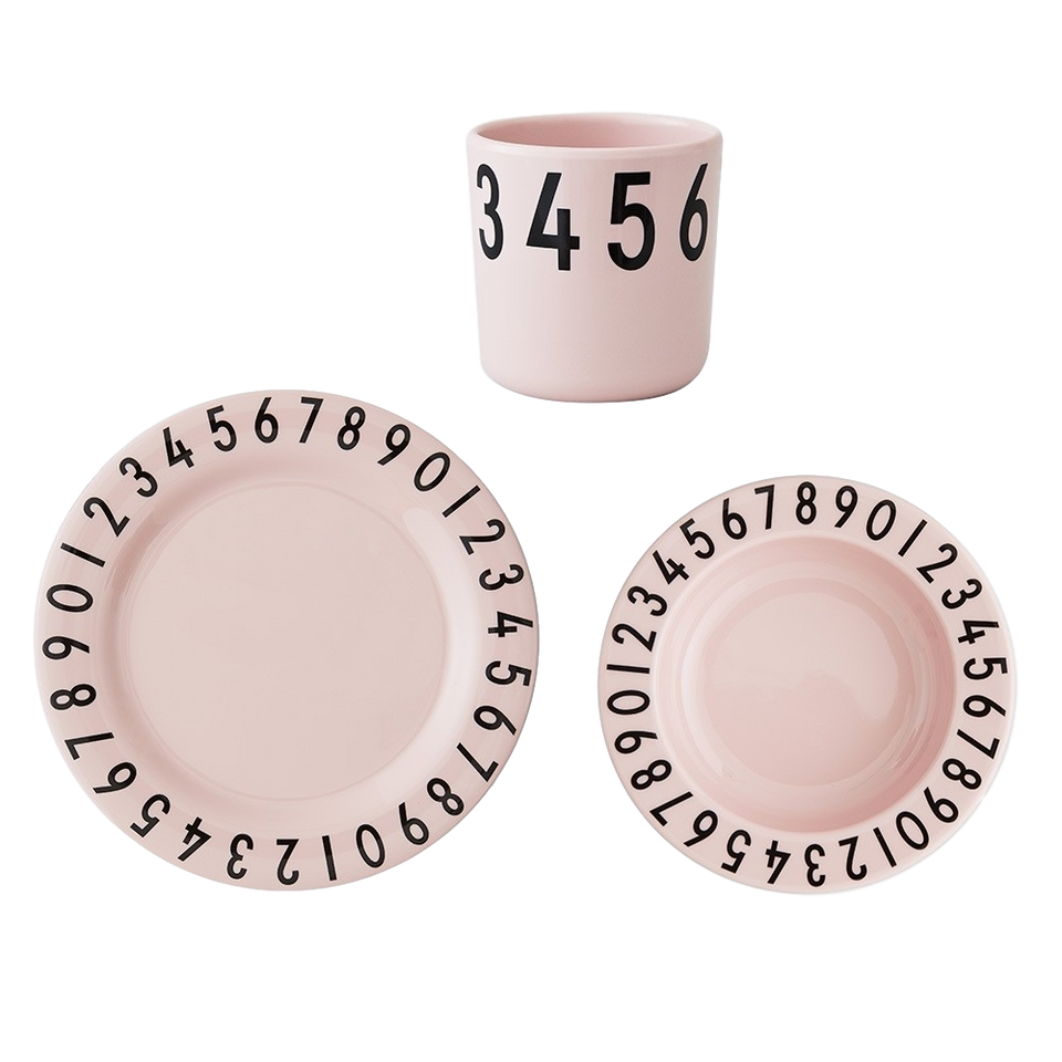 Design Letters Melamine Numbers Tableware Set - Soft Pink