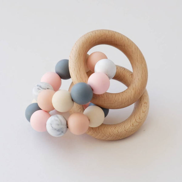 Colour Mix Teething Ring Toy - Peach