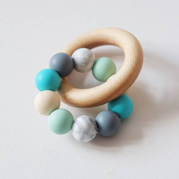 Colour Mix Teething Ring Toy - Turquoise