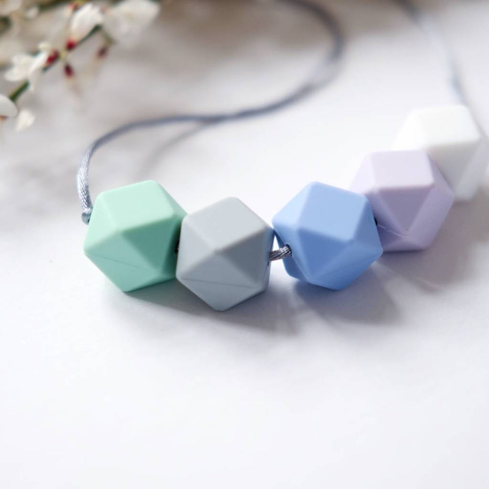Hexagon 'Mumma Beads' Teething Necklace - Blue Mix