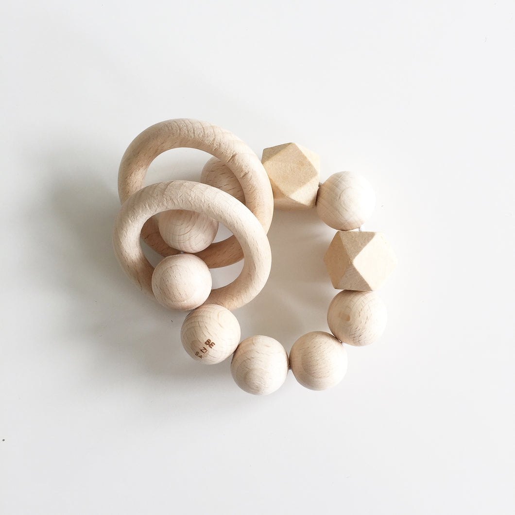 Bezisa Wooden Rattle Teether - Natural - Nursery Edit