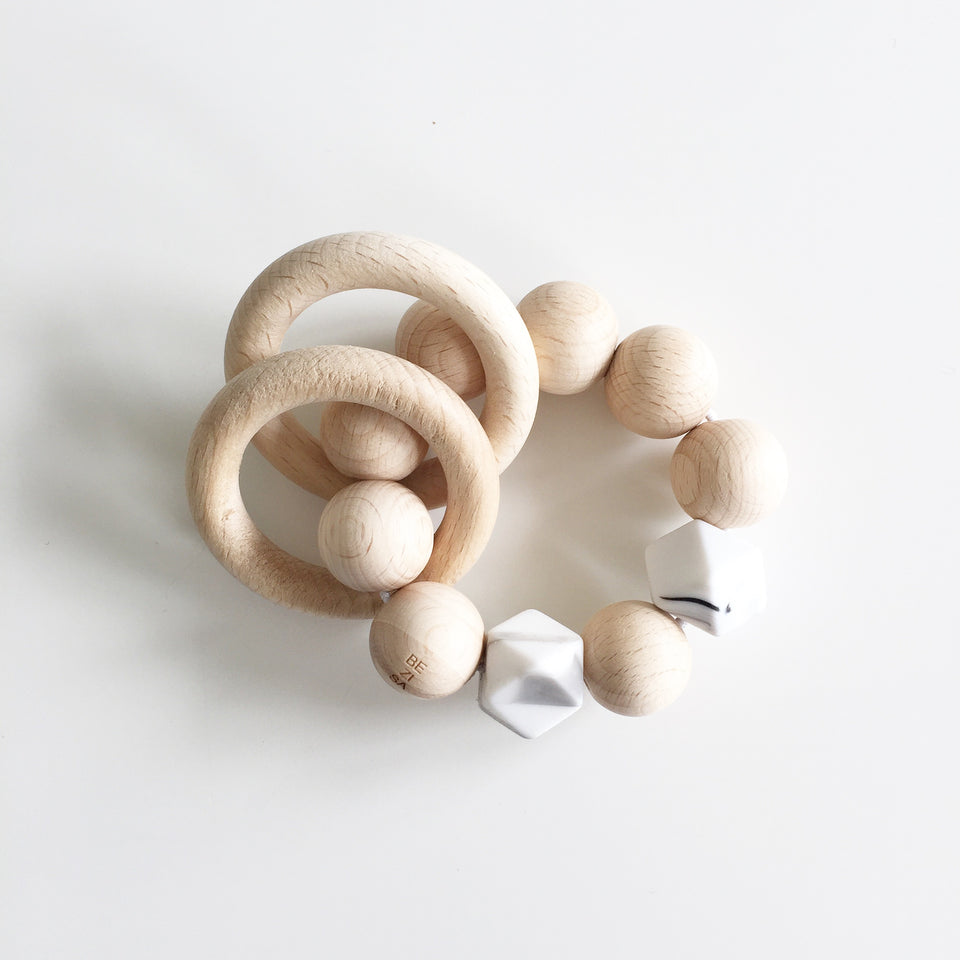 Bezisa Wooden Rattle Teether - Marble