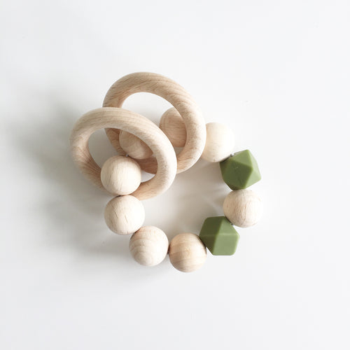 Bezisa Wooden Rattle Teether - Moss Green - Nursery Edit