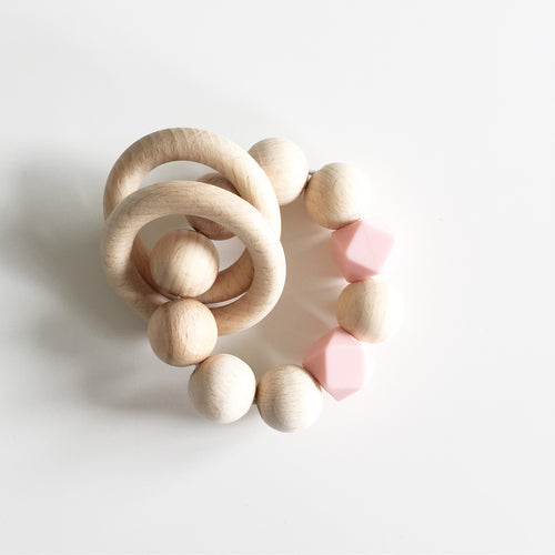 Bezisa Wooden Rattle Teether - Pink - Nursery Edit