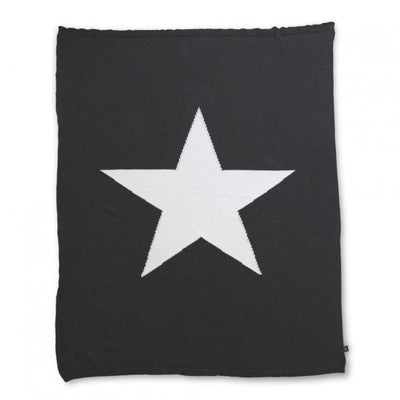 Ooh Noo Star Blanket Throw - Black - Nursery Edit