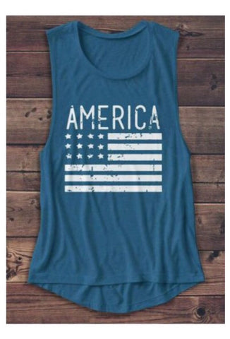 America Flag Muscle Tank