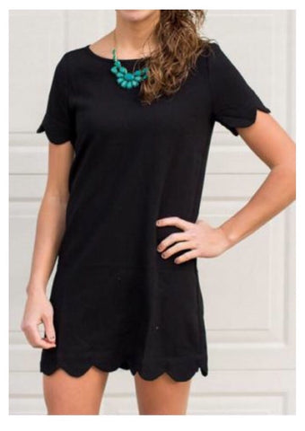 Lauren Black Scallop Dress
