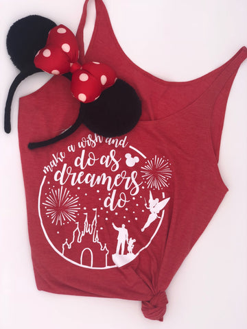 Walt Disney Do As Dreamers Do Disneyland Disneyworld Hande madeTank Top Shirt Women's, mens, kids