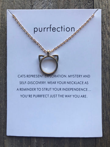 """Purrfection"" Gold Cat Necklace"