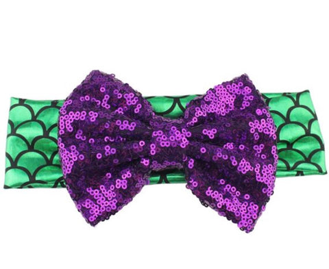 Mermaid Green and Purple Sequenced Bow Children's Headband