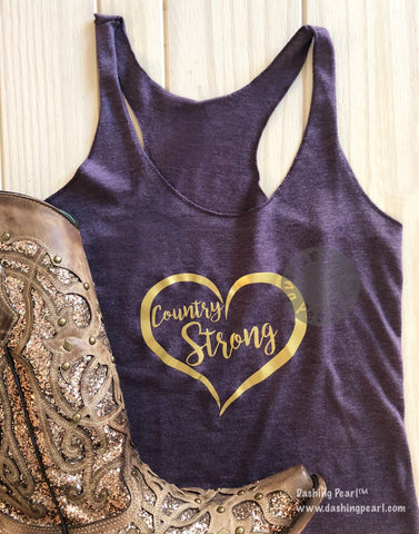 Heather Purple Country Strong Gold Heart Racer Back Tank