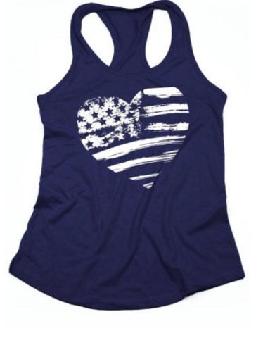 Distressed Flag Heart Tank