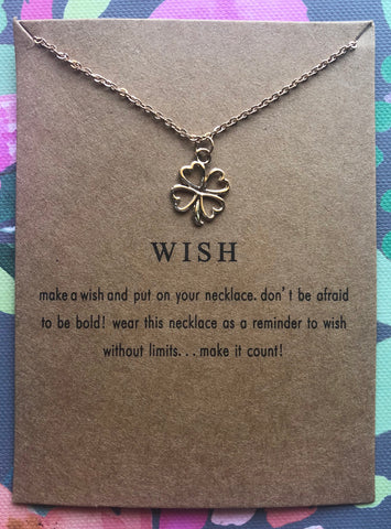 """Wish"" Gold Three Leaf Clover Necklace"