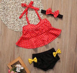 Minnie Mouse Inspired Three Piece Girls Swinsuit