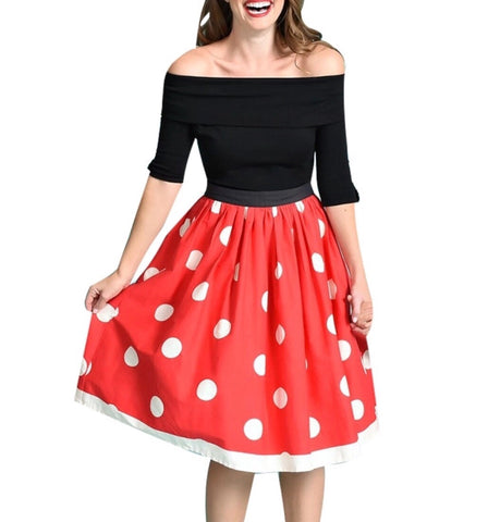 Red and White Polka Dot Women's Skirt