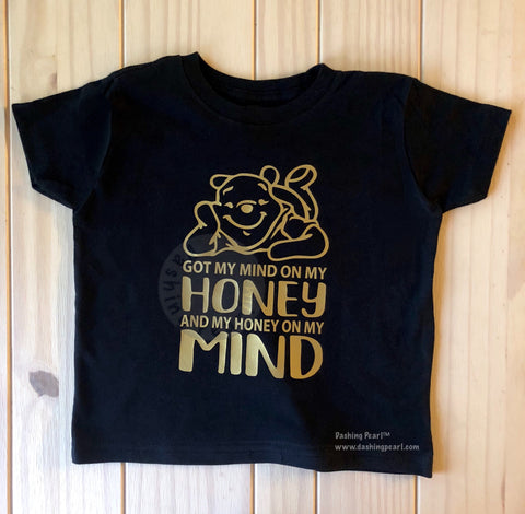 Honey On My Mind Pooh Bear Kid's Unisex Tee