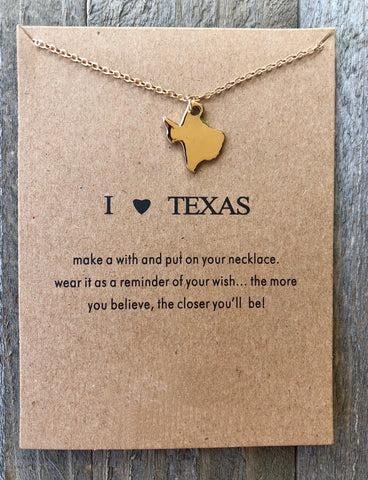 I Love Texas Gold Necklace