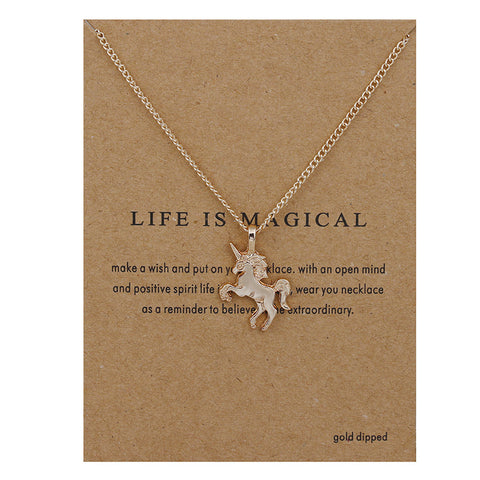 Life is Magical Gold Unicorn Necklace Handmade Gift