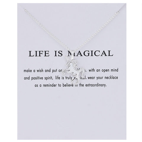 Life is Magical Silver Unicorn Necklace Handmade Gift